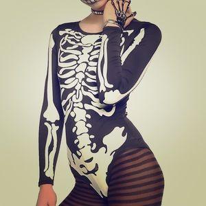 Skeleton body suit glow in the dark
